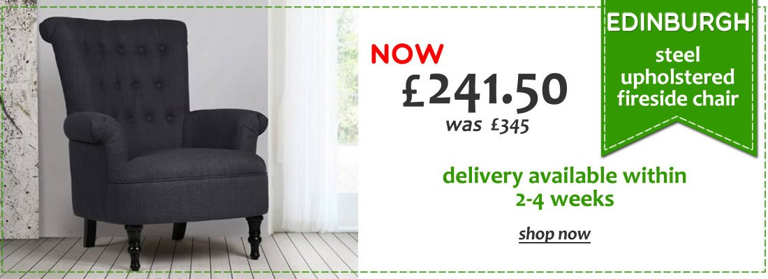 Edinburgh Steel Upholstered Fireside Chair - 30% off