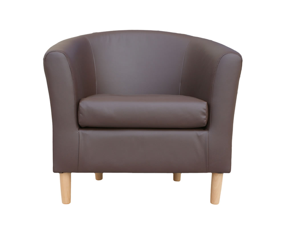 Hamlet Brown Faux Leather Tub Chair Uk Delivery