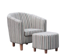 Falkirk Duck Egg Blue Striped Tub Chair and Stool