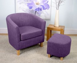 Falkirk Plum Linen Fabric Tub Chair and Stool