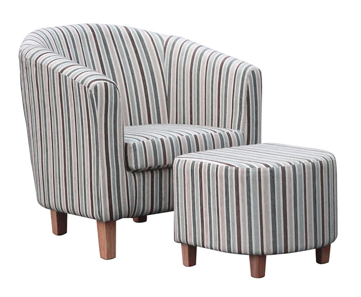 Falkirk Linen Fabric Tub Chair and Stool - Just Armchairs