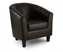 Garrick Brown Faux Leather Tub Chair