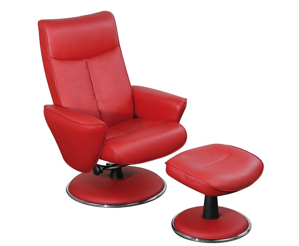 Suzi Red Top Grain Leather Swivel Chair and Foot Stool ...