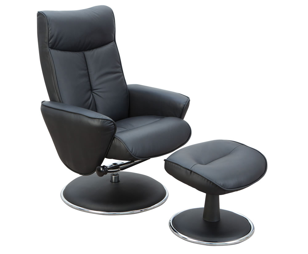 Suzi black top grain leather swivel chair and foot stool uk delivery - Swivel feet for chairs ...