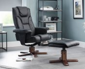 Malmo Black Faux Leather Recliner Chair with Footstool