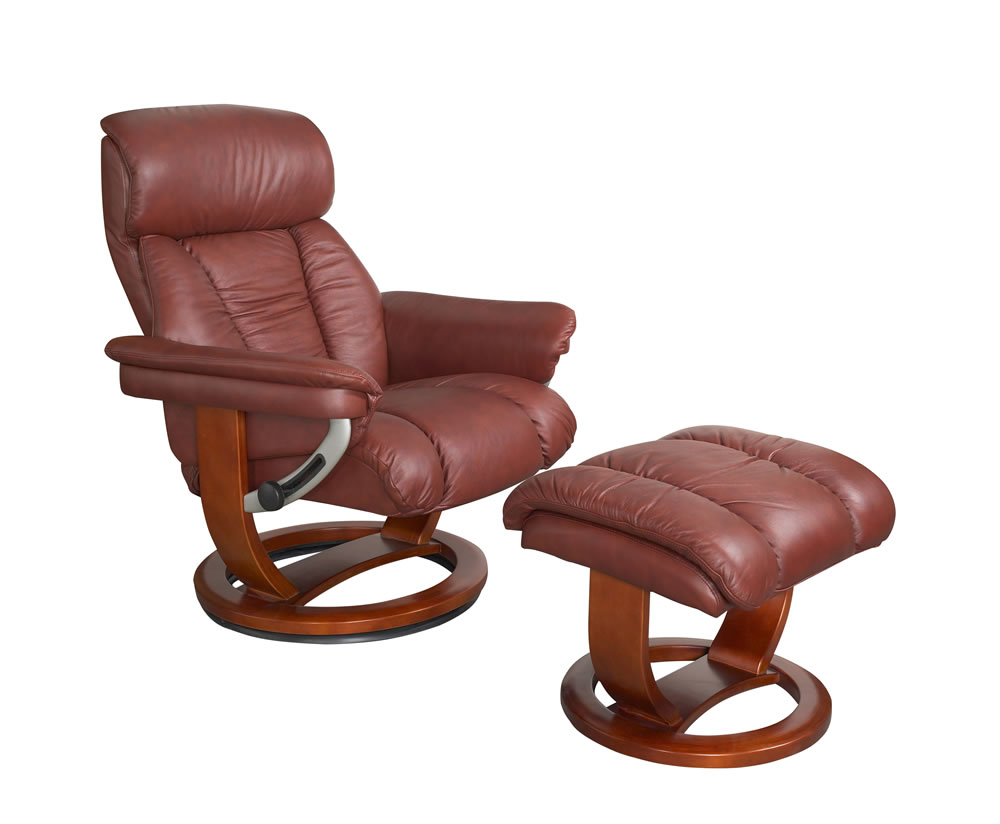 Veronica chestnut genuine leather swivel chair and foot stool - Swivel feet for chairs ...