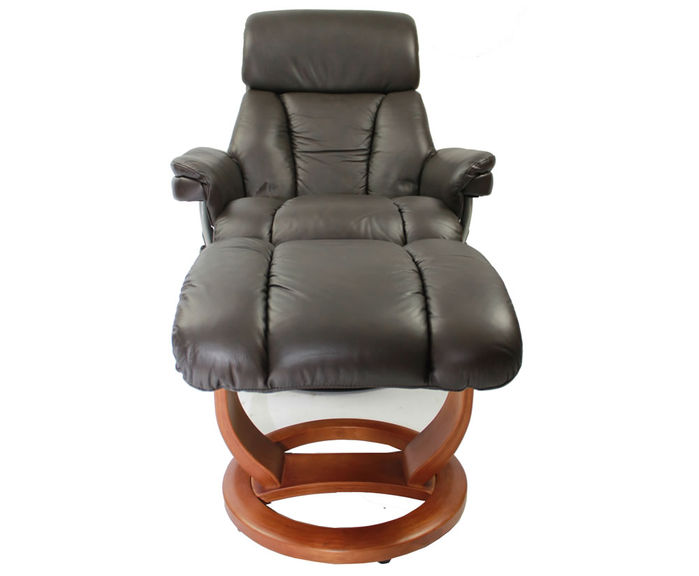 Veronica chocolate genuine leather swivel chair and foot stool - Swivel feet for chairs ...