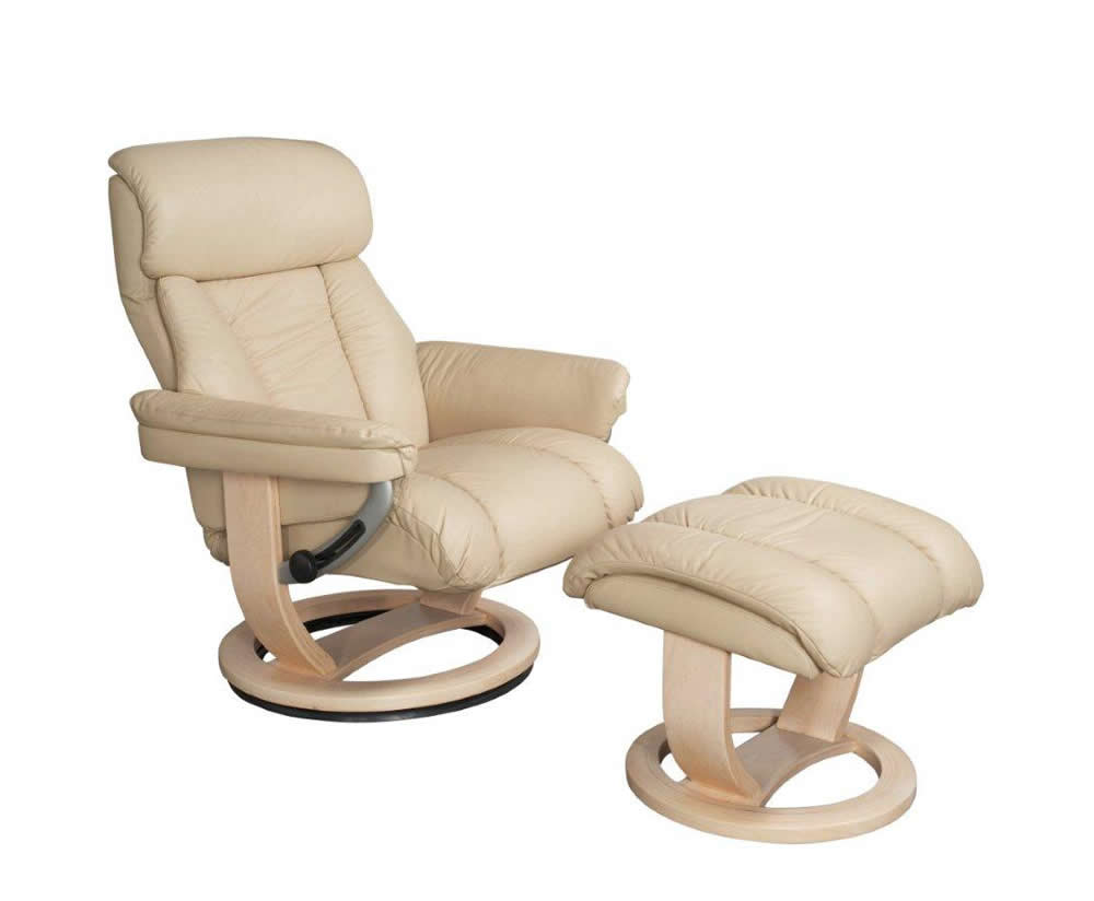 cream genuine leather swivel chair and foot stool swivel chair