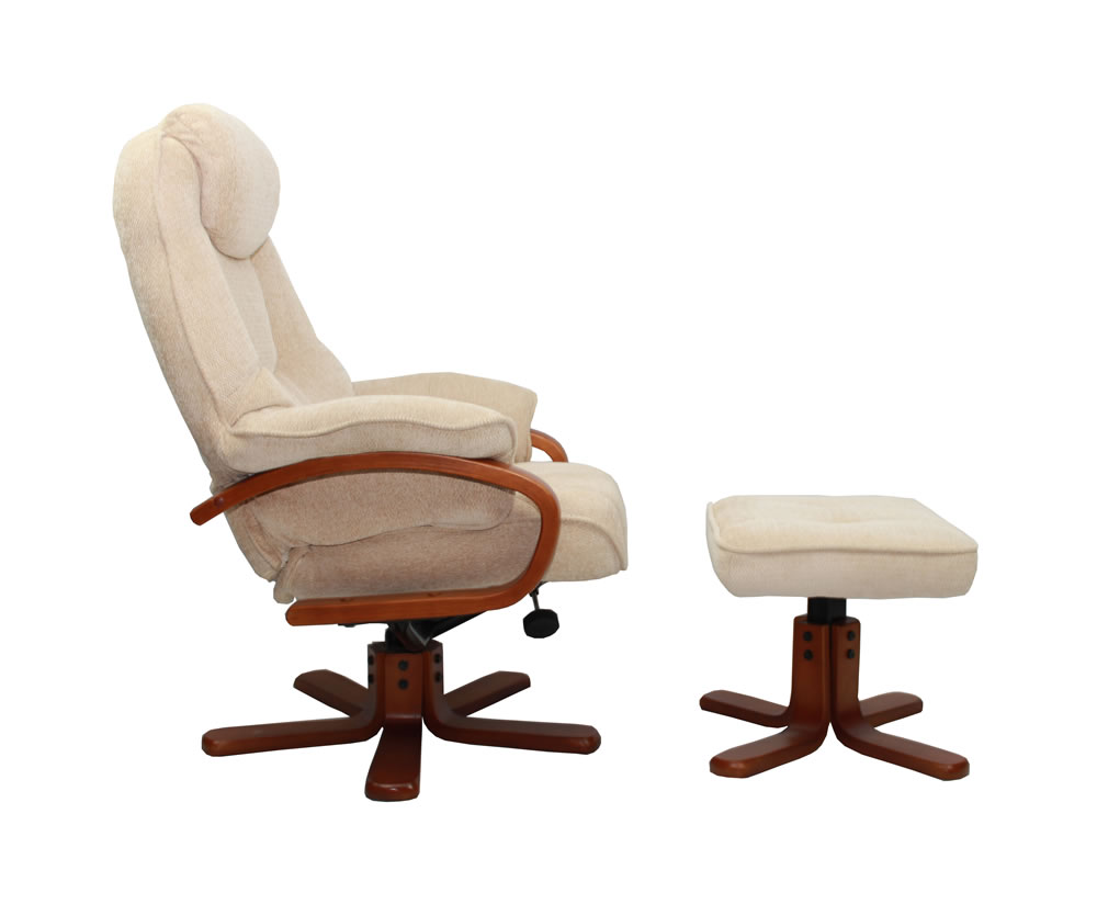 Caprice beige chenille fabric swivel chair and foot stool - Swivel feet for chairs ...
