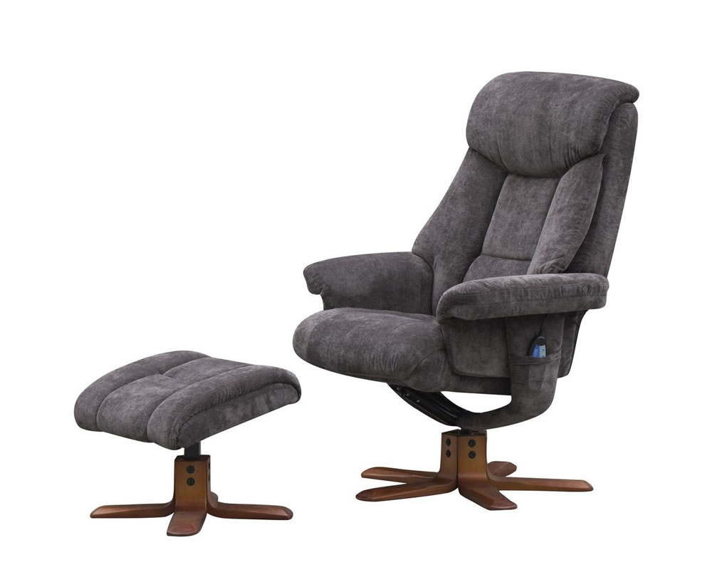 Littleham charcoal velour massage swivel chair and foot stool - Swivel feet for chairs ...