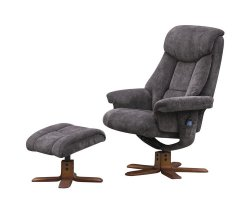 Littleham Charcoal Velour Massage Swivel Chair and Foot Stool