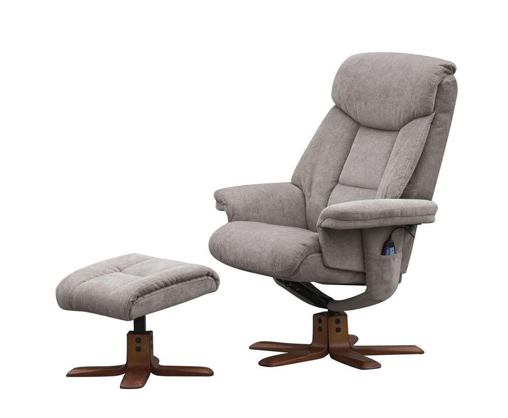 Littleham mink velour massage swivel chair and foot stool for Stool chair