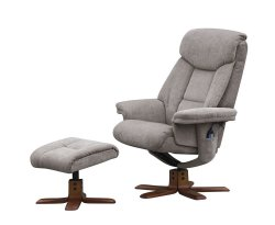 Littleham Mink Velour Massage Swivel Chair and Foot Stool