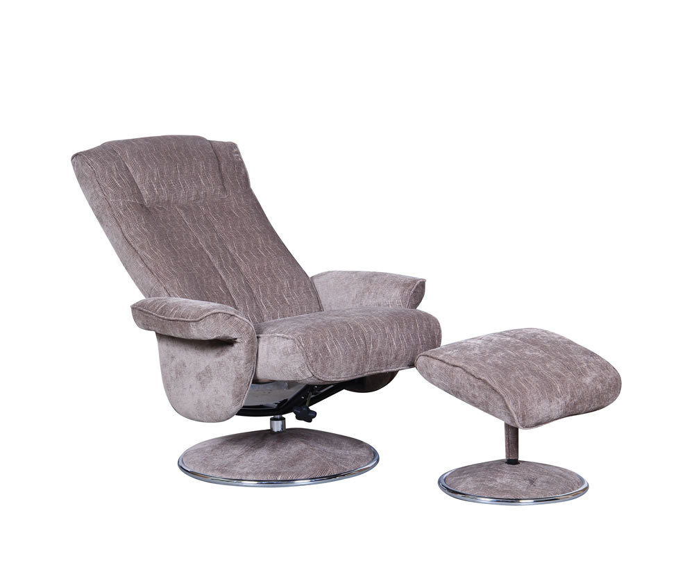 Dolan Fudge Velour Fabric Swivel Chair And Foot Stool