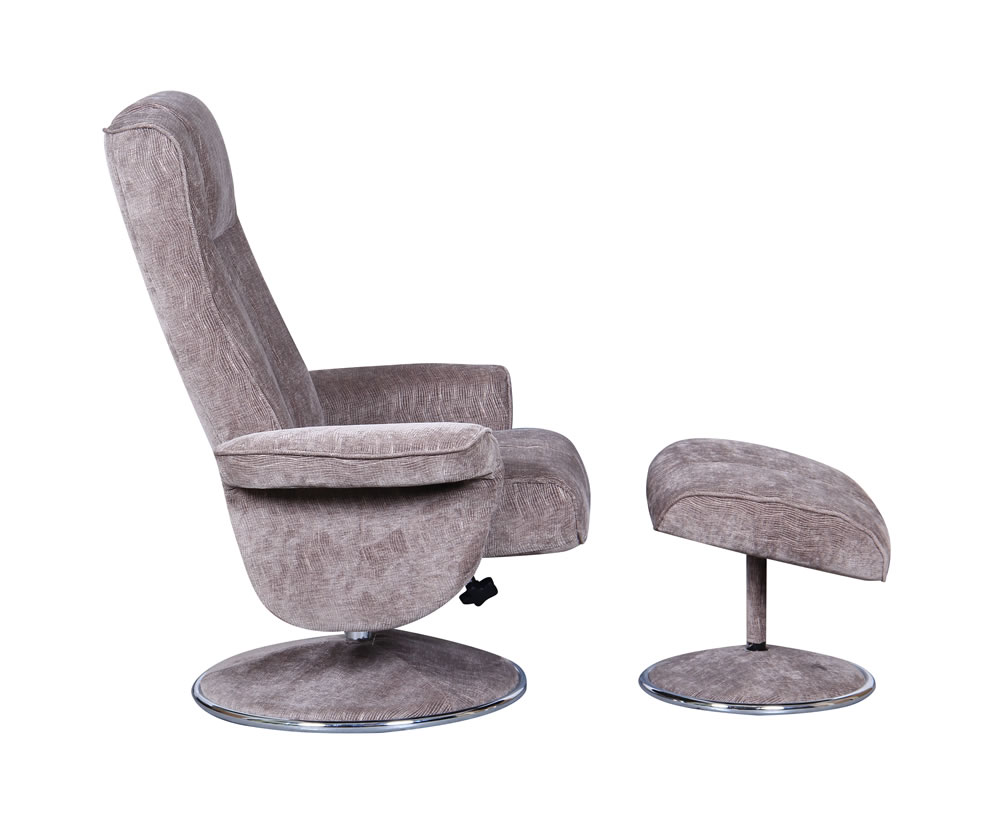 Dolan fudge velour fabric swivel chair and foot stool - Swivel feet for chairs ...
