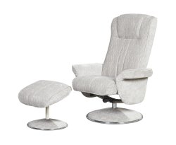 Dolan Silver Velour Fabric Swivel Chair and Foot Stool