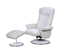 Dolan Beige Velour Fabric Swivel Chair and Foot Stool