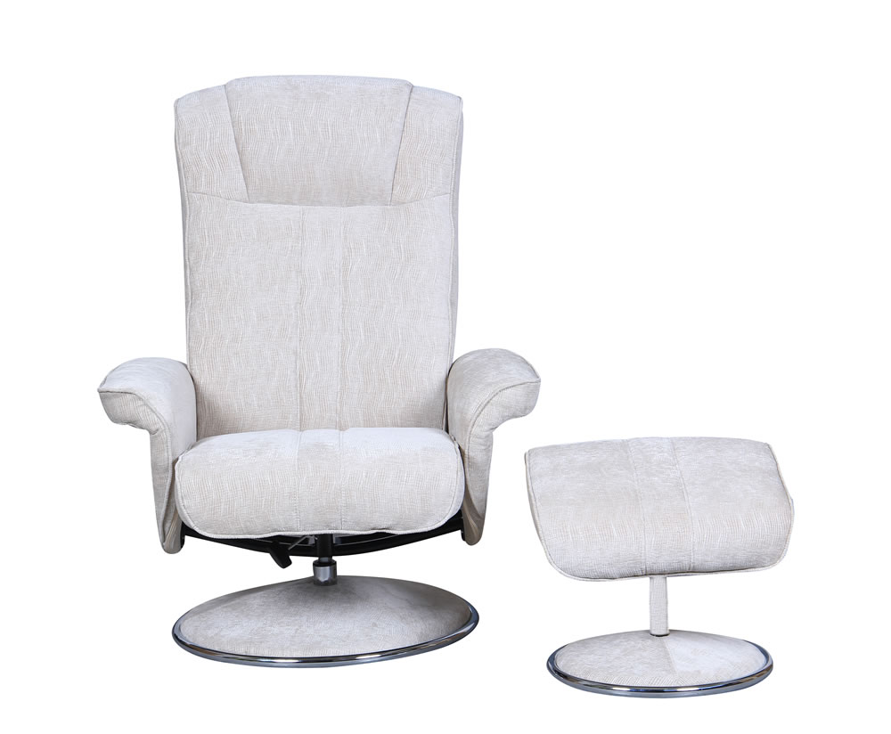 Dolan beige velour fabric swivel chair and foot stool - Swivel feet for chairs ...