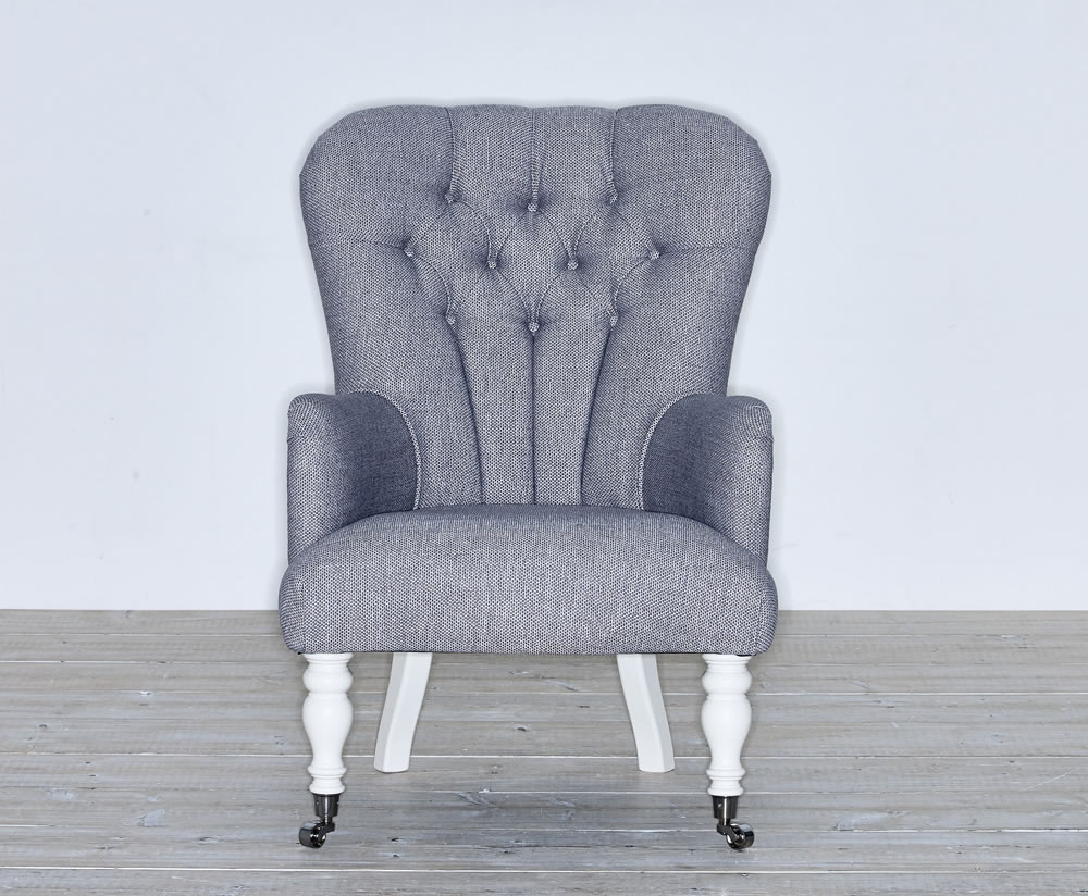 justarmchairs.co.uk Kansas Fabric Upholstered Fireside Armchair ari beige cyan chrome