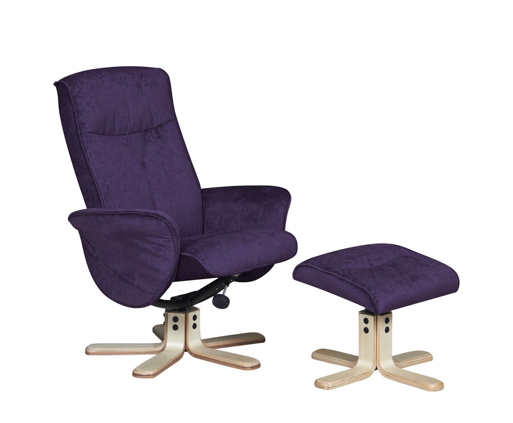 Capaldi Mulberry Fabric Swivel Chair And Foot Stool
