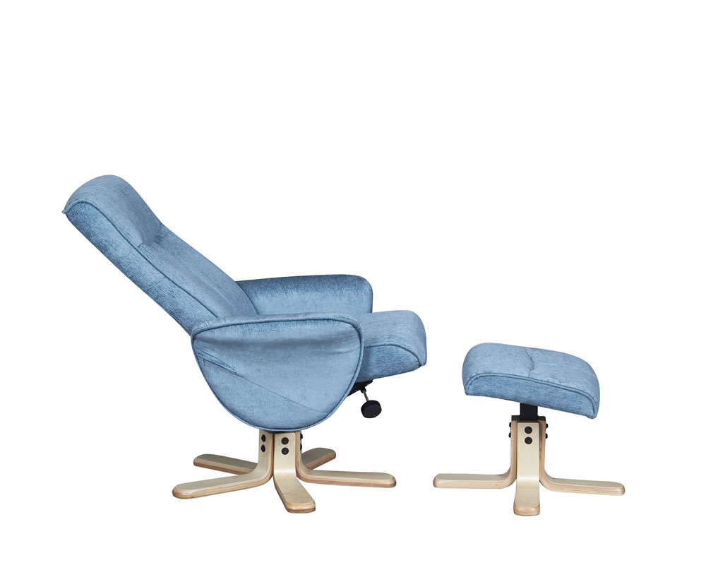 Capaldi Aqua Fabric Swivel Chair And Foot Stool