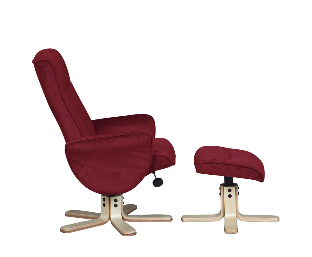 Capaldi crimson fabric swivel chair and foot stool - Swivel feet for chairs ...
