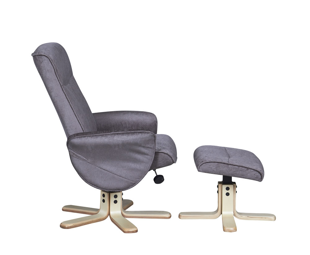 Capaldi mink fabric swivel chair and foot stool - Swivel feet for chairs ...