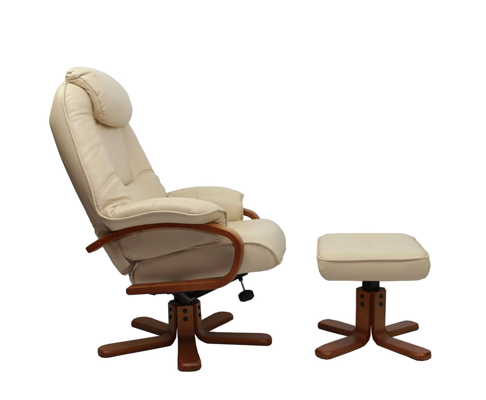 senado cream bonded leather swivel chair and foot stool swivel chair