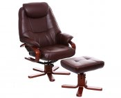 Senado Brown Bonded Leather Swivel Chair and Foot Stool