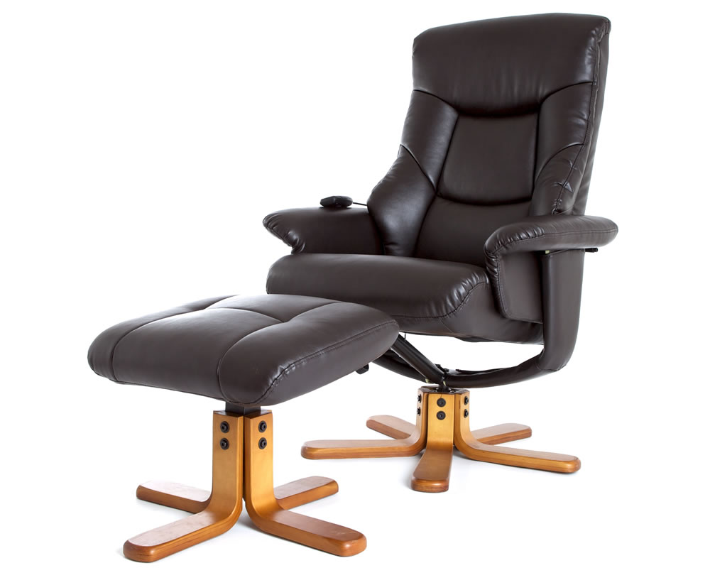 faux leather massage swivel chair and foot stool swivel chair