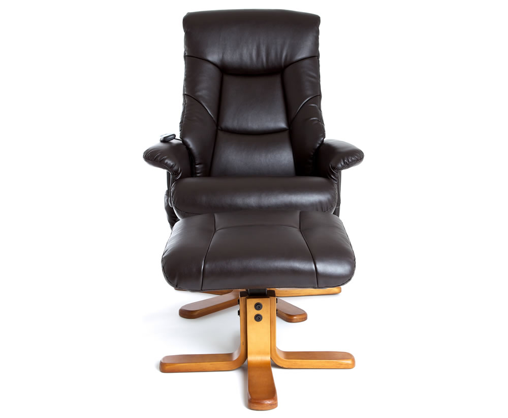 Fiona Chocolate Faux Leather Massage Swivel Chair And Foot