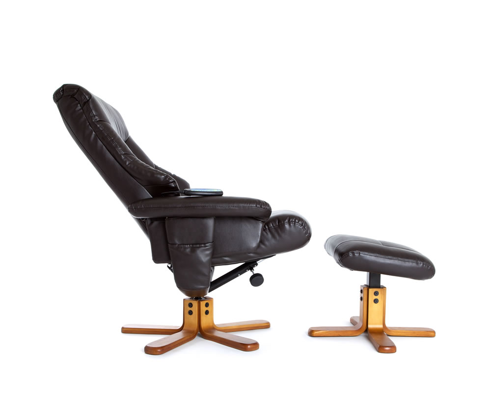 fiona chocolate faux leather massage swivel chair and foot stool