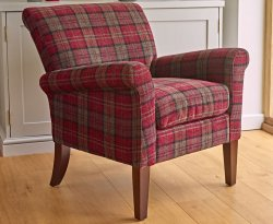 Warrenpoint Claret Red Tartan Armchair