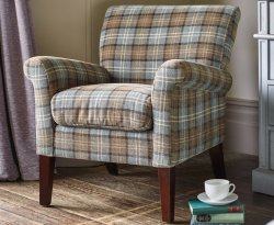 Warrenpoint Dove Grey Tartan Armchair