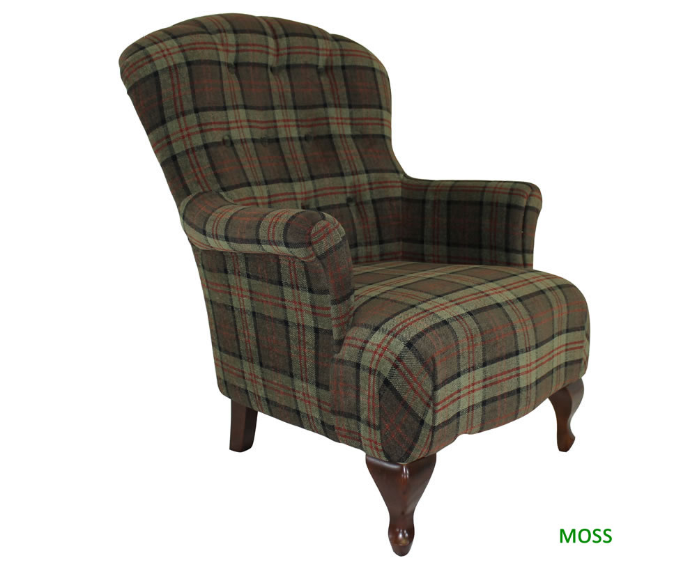 Oban Tartan Upholstered Fireside Chair Just Armchairs