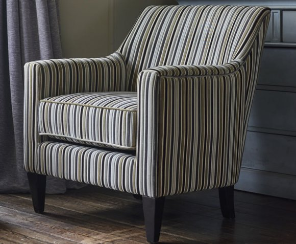 Golding Silver Striped Fabric Arm Chair