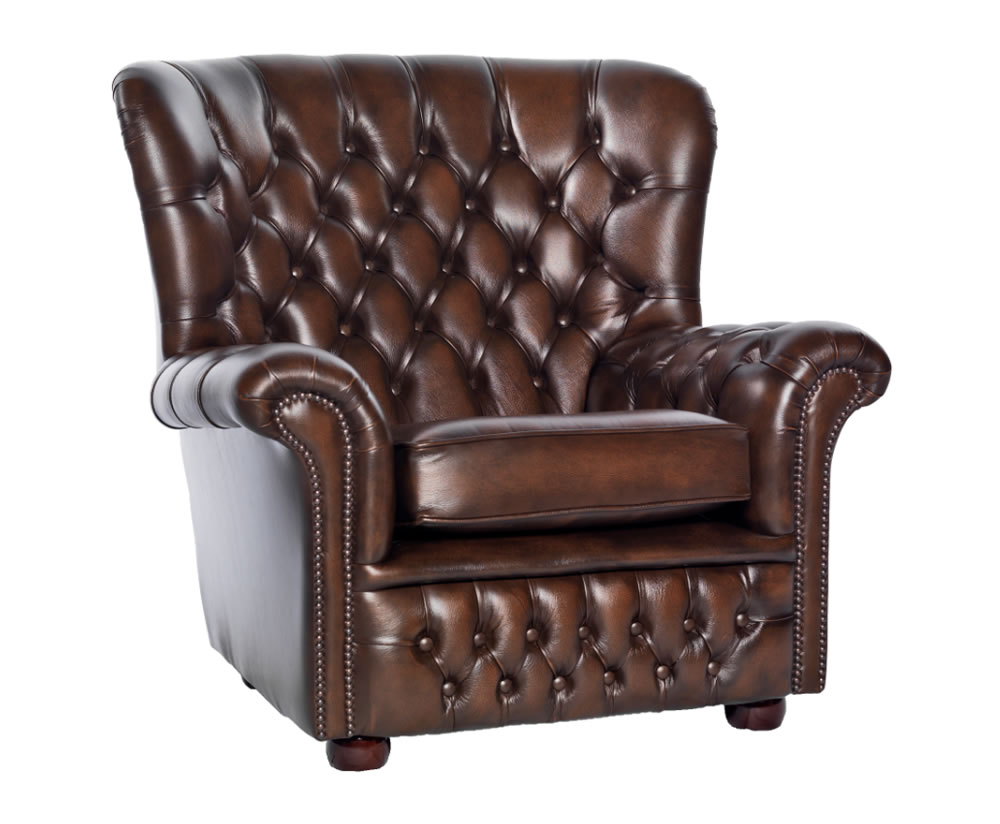 Marquette Brown Leather Sofa Chair - UK delivery