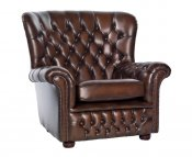 Marquette Brown Leather Sofa Chair