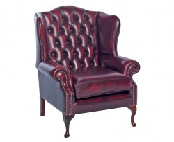 Amerigo Antique Red Leather Fireside Chair