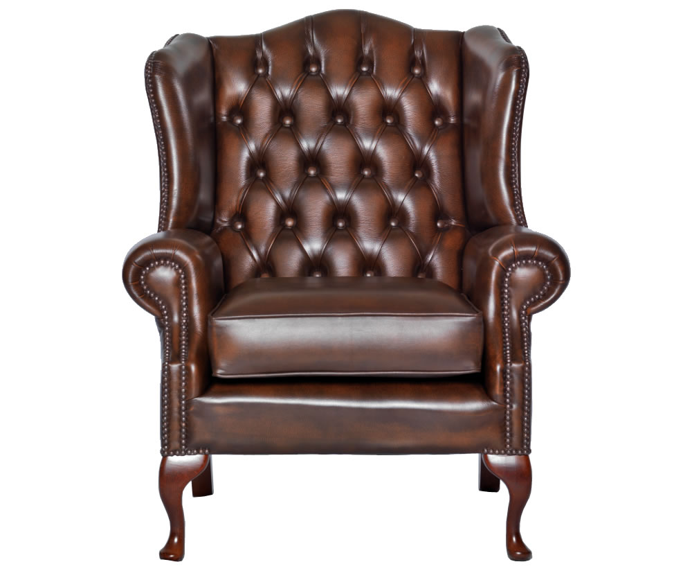 Amerigo Antique Brown Leather Fireside Chair - UK delivery