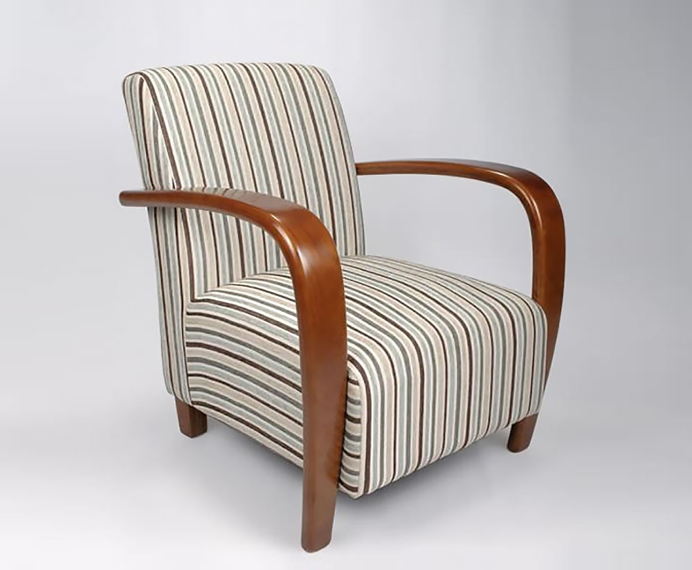 Camber Duck Egg Blue Striped Arm Chair - Just Armchairs