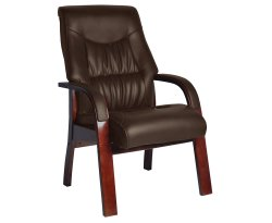 Collier Brown Faux Leather Fireside Arm Chair