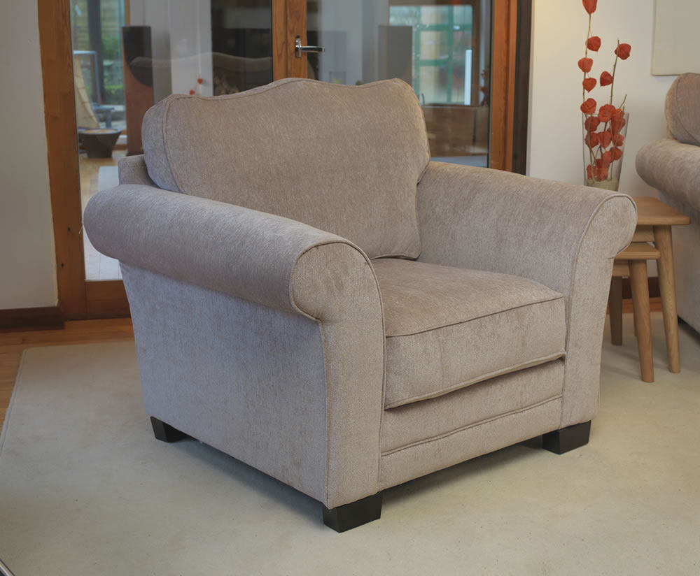 justarmchairs.co.uk Gatehouse Taupe Fabric Upholstered Sofa Chair