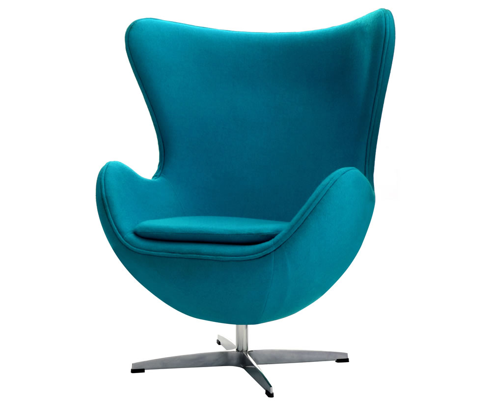 Brixham teal wool fabric revolving chair for Funky fabric dining chairs