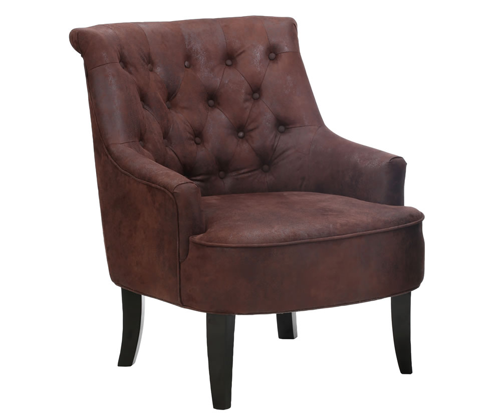 justarmchairs.co.uk Wallfields Brown Faux Leather Occasional Chair