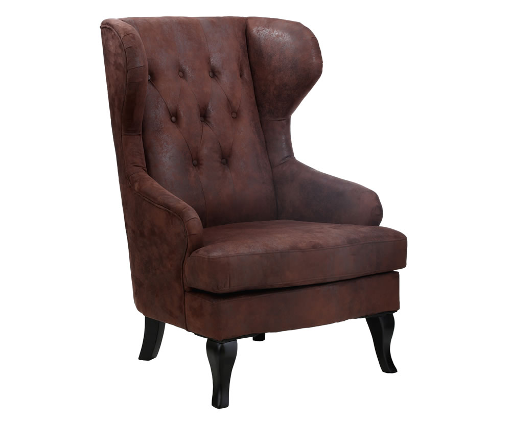 Kenley Brown Faux Leather Fireside Chair