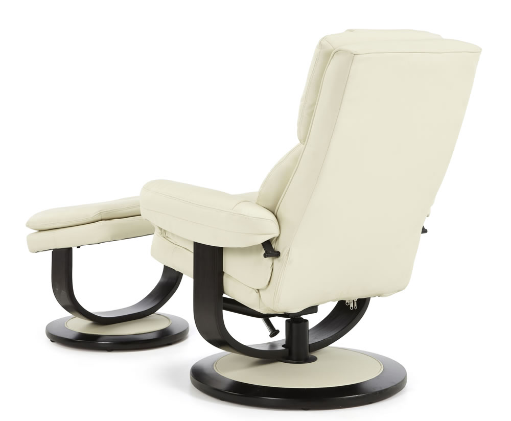finley cream bonded leather recliner chair just armchairs
