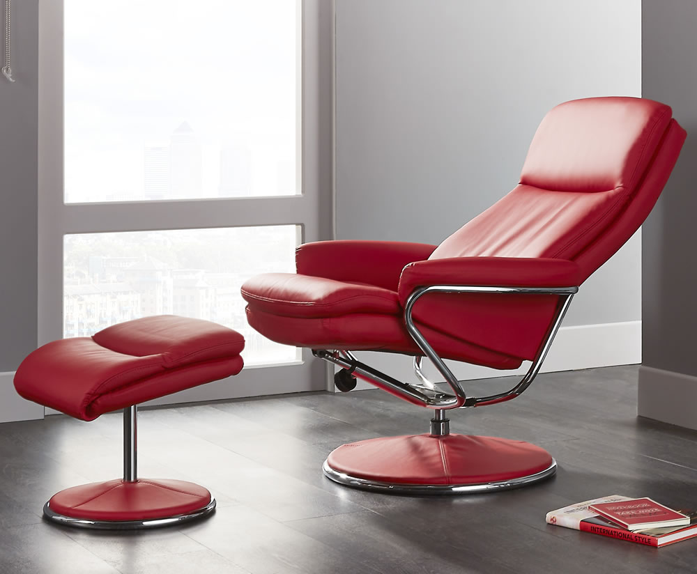 Norway Red Faux Leather Recliner Chair