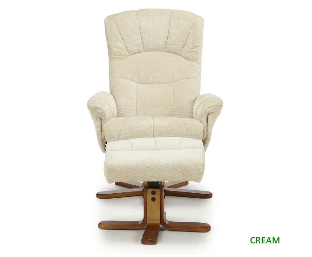 Kendra cotton fabric recliner chair just armchairs for Fabric swivel armchairs for living room