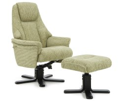 Clarison Mint Fabric Recliner Chair and Stool